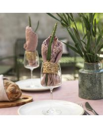 Napkin washed linen with napkin ring 2-p